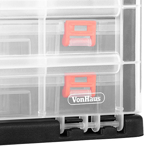 Utility Tool Storage Box with 4 Drawers & Adjustable Dividers (10.9 x 10.1 x 6.9 inches)