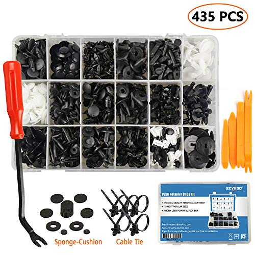 EZYKOO 435 Pcs Car Retainer Clips & Plastic Fasteners Kit