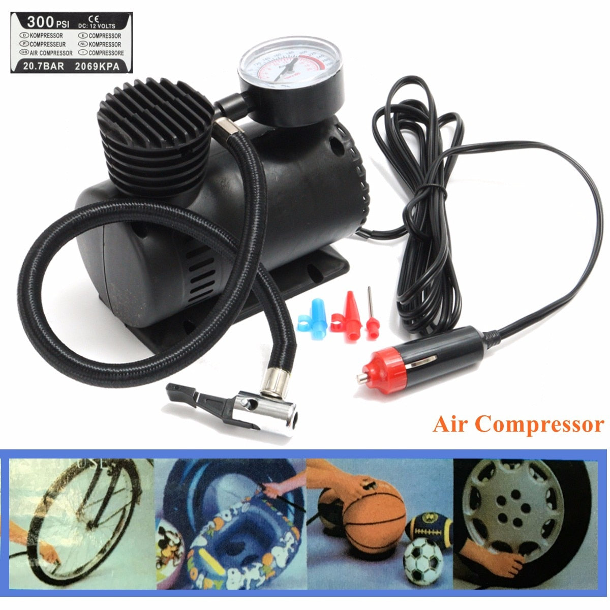 300 PSI 12V Portable Mini Air Compressor with 2 Nozzle Adapters Accessories