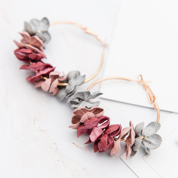 Stunning Fabric Flower Drop Earrings