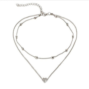 Stella Double Horn Pendant Heart Necklace