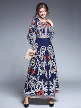 Load image into Gallery viewer, Blue Bohemia Printed Round-neck Long Sleeves Maxi Dress