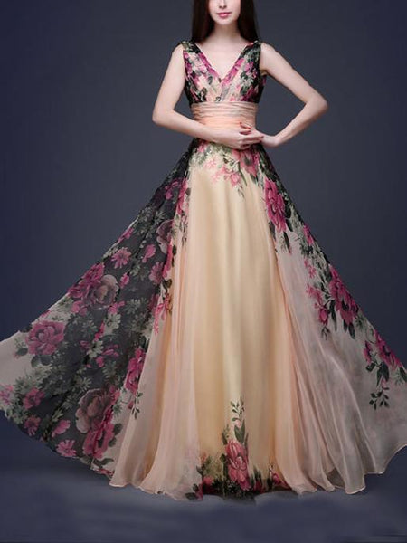 Printed Sleeveless Floor Evening Dress