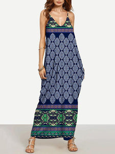 Fashion Navy Blue Bohemia Spaghetti Straps V Neck Maxi Dress