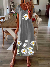Load image into Gallery viewer, Women Vintage Floral Short Sleeve Printe Maxi Dresses