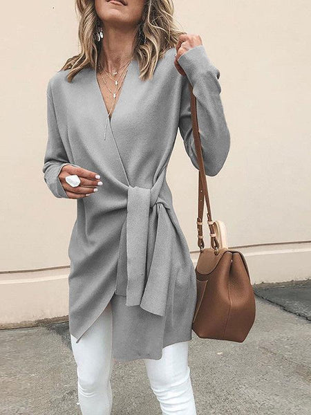 Casual Solid Color V-Neck Long Sleeves Outwear