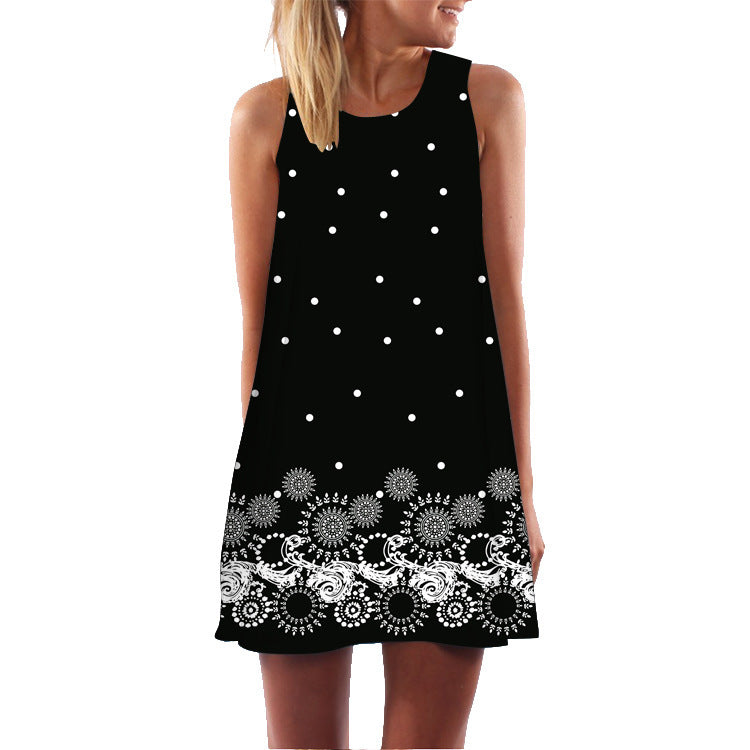 Summer New Style Retro Art Print Round Neck Pullover Sleeveless Dress