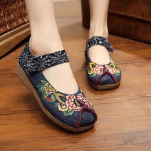 Load image into Gallery viewer, Peony Embroidered Old Peking Hook Loop Flat Shoes