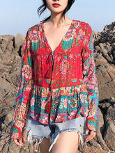 Load image into Gallery viewer, Floral Loose Long Sleeves Lace Up Blouses Shirt Bohemian Tops