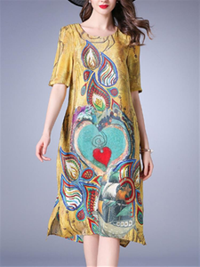 Casual Printed O-Neck Half Sleeve Women Silk Dresses
