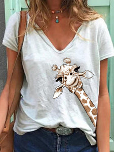 Women Simple Animal Printed V Neck Short Sleeve Tops