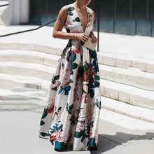 Load image into Gallery viewer, Autumn And Winter Sexy V-Neck Print Sleeveless High Waist Evening Dress