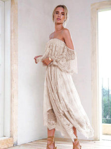 Off-The-Shoulder Lace Irregular Hem Evening Dress