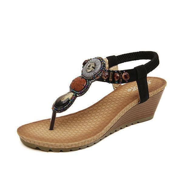 Bohemian Bead Clip Toe Elastic Wedge Heel Beach Flip Flops Sandals