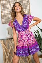 Load image into Gallery viewer, Sexy Bohemian Floral Pinrt Deep V-neck Summer Mini Dress