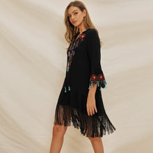 Load image into Gallery viewer, Women's Lace Up V-neck Flared Sleeve Ethnic Embroidery Bohemian Dress