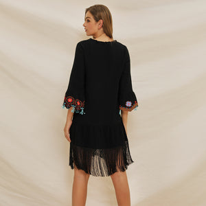 Women's Lace Up V-neck Flared Sleeve Ethnic Embroidery Bohemian Dress