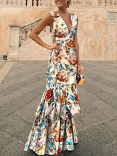 Load image into Gallery viewer, Print Evening Dress Sexy Deep V Dress Maxi Dress
