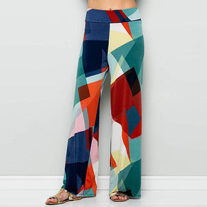 Color Blocks Bohemian Printed Wide Waist Casual Comfortable Wide Leg Yoga Pants