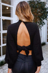Solid Color Long Sleeve Backless Sweater