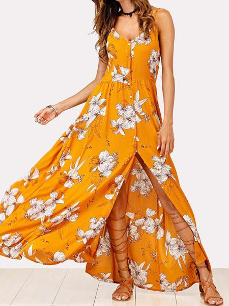 V-NECK FLORAL SPAGHETTI STRAPS MAXI DRESS
