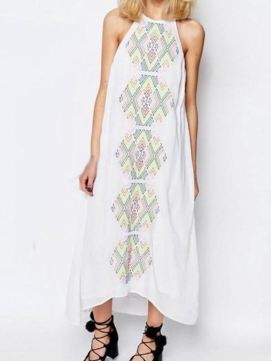 Color geometric embroidery suspenders long sleeveless sexy dress