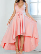 Load image into Gallery viewer, 2 Colors Solid color irregular sexy deep V-three-dimensional cut banquet evening dress