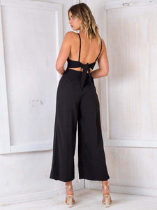 2018 Sexy Spaghetti Strap Solid Color Wide Leg Pants Jumpsuit Rompers