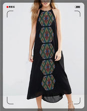 Load image into Gallery viewer, Color geometric embroidery suspenders long sleeveless sexy dress