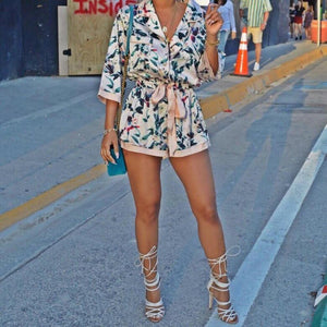 Print Long Sleeve Belted Short Jumpsuit Rompers