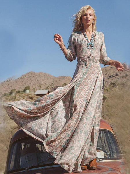 Split print women long maxi bohemian dress