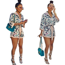 Load image into Gallery viewer, Print Long Sleeve Belted Short Jumpsuit Rompers