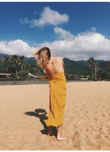 Load image into Gallery viewer, Sexy Spaghetti Strap V Neck Backless Solid Color Beach Dress