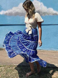 Floral Patchwork Elastied Waist Big Swing Bohemian Skirt