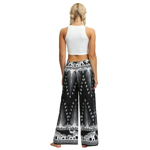 Digital Print Snow Women's Casual Wide Leggings Yoga Pants Fashion Fork Straight Leggings