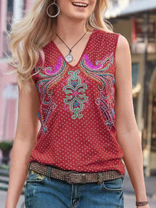Summer Embroidered Sleeveless Vest