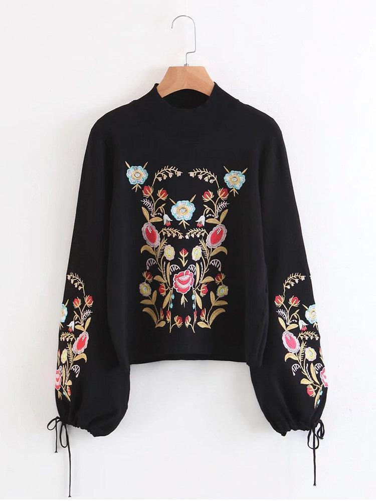 Casual Floral Embroidered Long Lantern Sleeve Women Sweaters