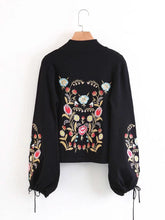 Load image into Gallery viewer, Casual Floral Embroidered Long Lantern Sleeve Women Sweaters