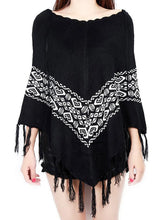Load image into Gallery viewer, Women Christmas Knitting Print Tassels Cloak Coat