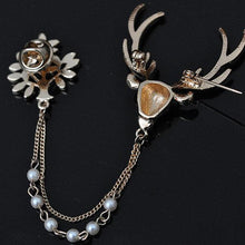 Load image into Gallery viewer, Luxury Unisex Brooch Crystal Deer Tree Artificial Pearl Christmas Brooches