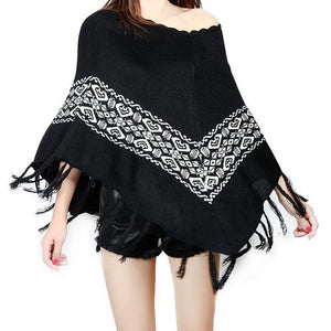 Women Christmas Knitting Print Tassels Cloak Coat
