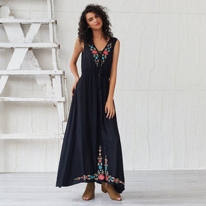 V-neck Embroidered Sleeveless Holiday Dress