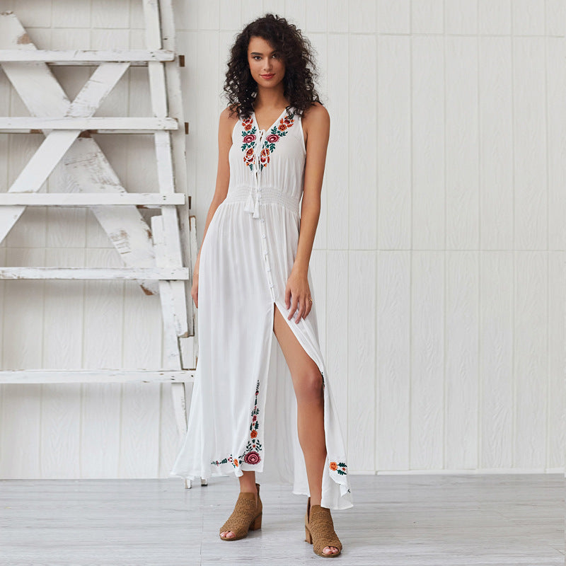 Bohemian V collar embroidered sleeveless wig dress
