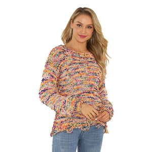 Camouflage Perforated Pullover Crew Neck Loose Sweater Women's T-shirt