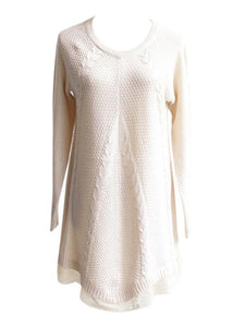 Women Long Sleeve Lace Stitching Pure Color Knitted Sweaters