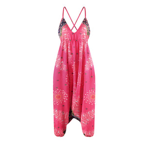 Loose Digital Print Women's Casual Open Back Sexy Jumpsuit