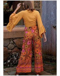 New Women's Loose Looking Thin High Waist Retro Printed Casual Pants