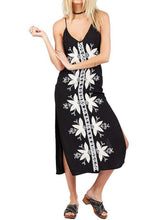 Load image into Gallery viewer, Bohemian vacation wind lapel embroidery harness split black dress dress