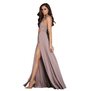 Irregular Sexy solid color irregular ruffled dress sexy evening dress 2 colors