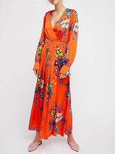 Load image into Gallery viewer, Bohemian Holiday V-neck Floral Sexy Split Dress